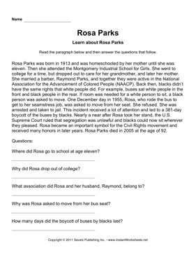 Important African Americans Comprehension Rosa Parks