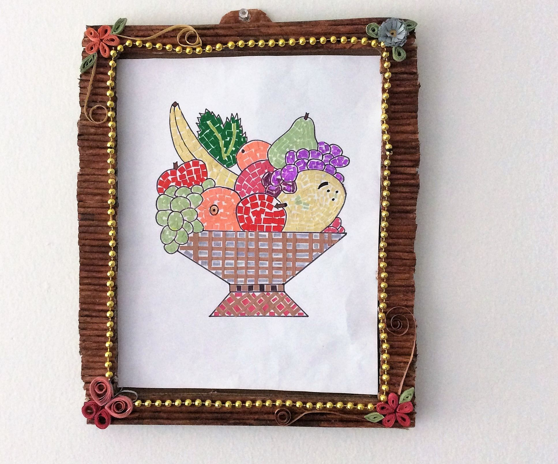 Mosaic Art Fruit Basket Amp Frame With Papers Kids Craft