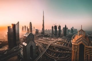 The Dubai skyline at dusk