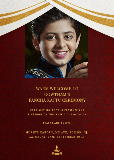 Royal Dhoti Talapaga Photo Invitation Invites
