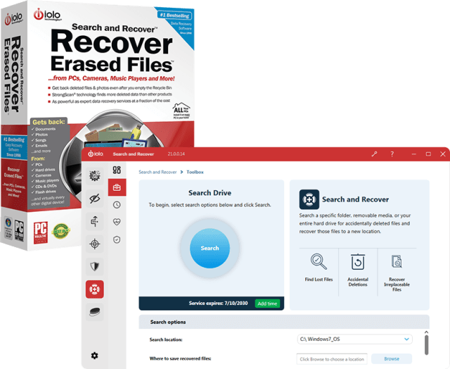 IOLO Search and recover Lost files from a PC