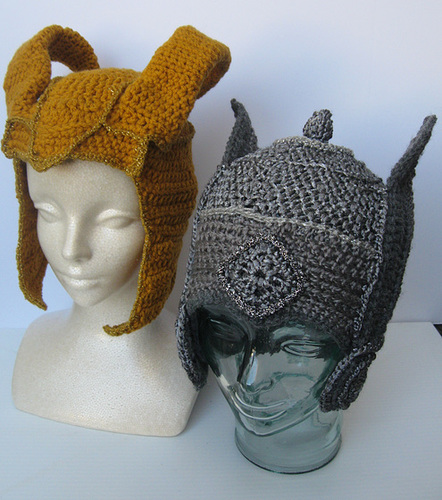 Crocheted Thor and Loki hats
