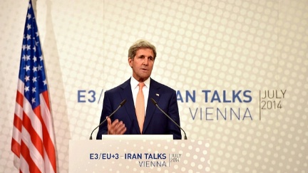 John Kerry addresses reporters in Vienna on July 15. Credit: U.S. State Department