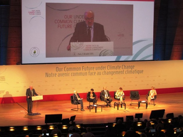 """Michel Jarraud, Secretary-General of the World Meteorological Organisation (WMO), addressing the opening session of the """"Our Common Future Under Climate Change"""" scientific conference Paris, Jul. 7-10. Credit: Fabiola Ortiz/IPS"""