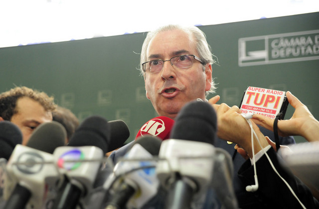 Eduardo Cunha, speaker of the lower house of Congress in Brazil, announcing his decision to allow the impeachment trial to go ahead against President Dilma Rousseff. Credit: Alex Ferreira/Cámara de Diputados