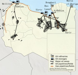 Libyan oil fields, pipelines, refineries and storage. Credit: NordNordWest, Yug | Creative Commons Attribution-Share Alike 3.0 Unported license.