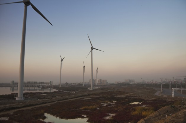A wind farm outside Tianjin. China is the world's leading manufacturer of wind turbines and solar panels. Credit: Mitch Moxley/IPS