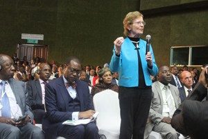 Mary Robinson making a point during a round table discussion of African Presidents.
