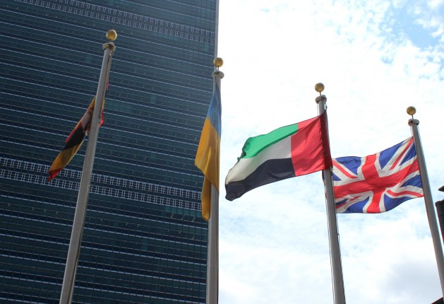 The United Kingdom flag flies alongside other member states at UN Headquarters in New York. Credit: Lyndal Rowlands / IPS.