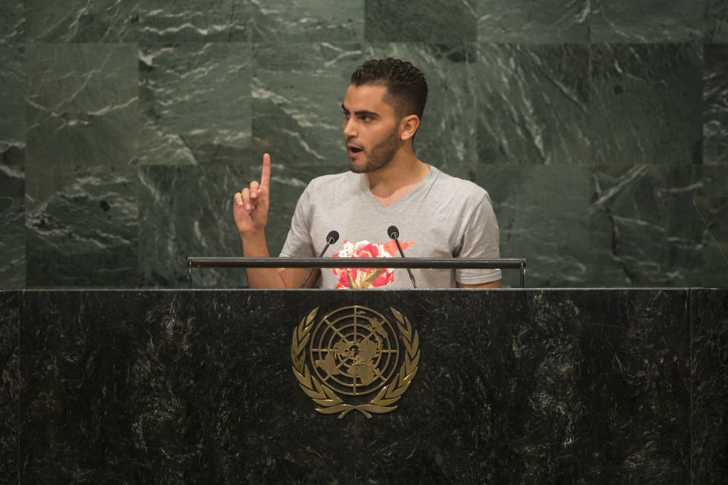 Mohammed Badran, of Syrian Volunteers in the Netherlands (SYVNL), addresses the opening segment of the United Nations high-level summit on large movements of refugees and migrants. Credit: UN Photo/Cia Pak