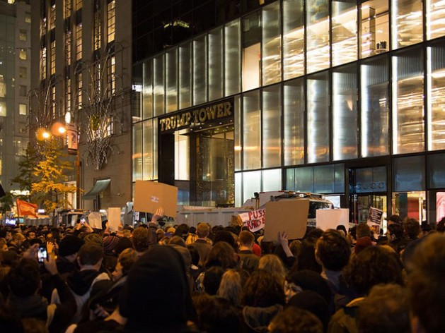 A large protest in Manhattan against the presidency of Donald Trump on November 9, 2016, the day after election day. The crowd spanned a few blocks, centered on Trump Tower. Credit: Rhododendrites . Wikimedia