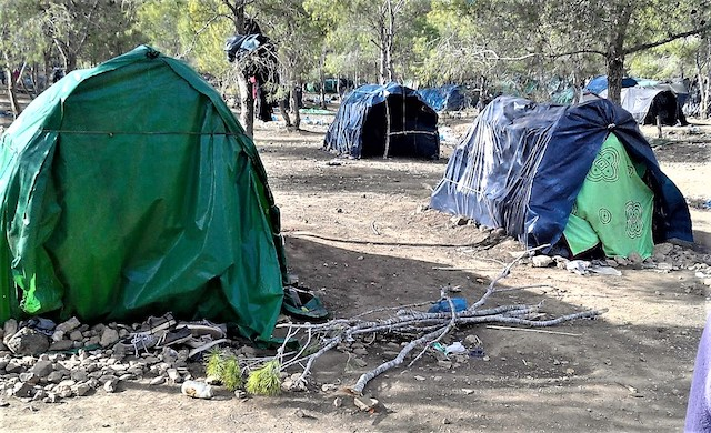 Campsite where Sub-Saharan migrants live near Nador, Morocco. Credit: Mohamed Diaradsouba