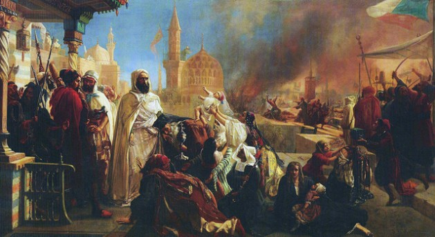 Abdelkader saving Christians during the Druze/Christian strife of 1860. Painting by Jean Baptiste Huysmans. Public Domain