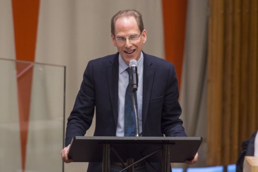 Simon Baron-Cohen, Director of the Autism Research Center at the University of Cambridge, gives the keynote address during a special event held to mark World Autism Awareness Day. Credit: UN Photo/Eskinder Debebe