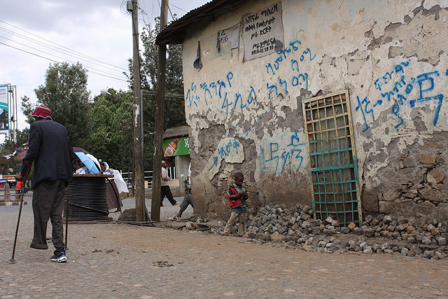 Off the main streets in Gonder, Ethiopia, poverty becomes starker. Credit: James Jeffrey/IPS