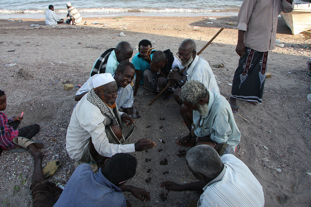 On a beach in Tadjoura locals play a traditional Afar game—Djibouti's population consists mainly of ethnic Somali and Afar—on the sand. Credit: James Jeffrey/IPS