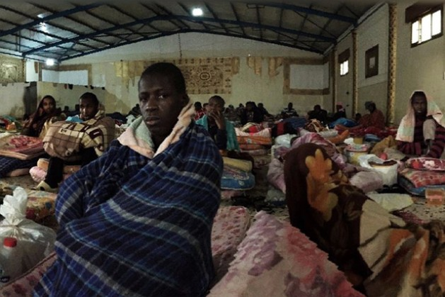 A shot of the living conditions inside a detention centre in Libya. Credit: UN Migration Agency (IOM)
