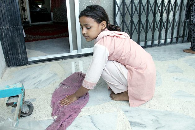 A Pakistani child domestic worker in this dated photo. The Asia Pacific region has one of the highest number of people in modern slavery, but the growing awareness of modern slavery in the region has led to the implementation of legislations to combat it.Credit: Fahim Siddiqi /IPS