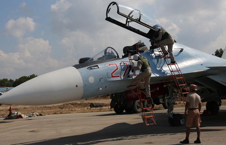 Russian warplane at the Syrian Hmeymim airbase