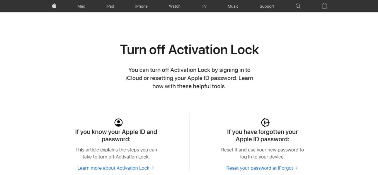 Веб-страница блокировки активации