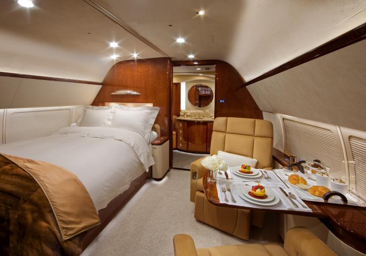 Luxury Bedroom For One Inside A Private Jet