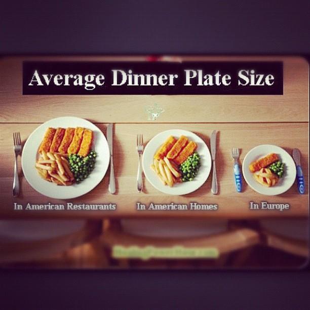 Average dinner plate size. America versus Europe.