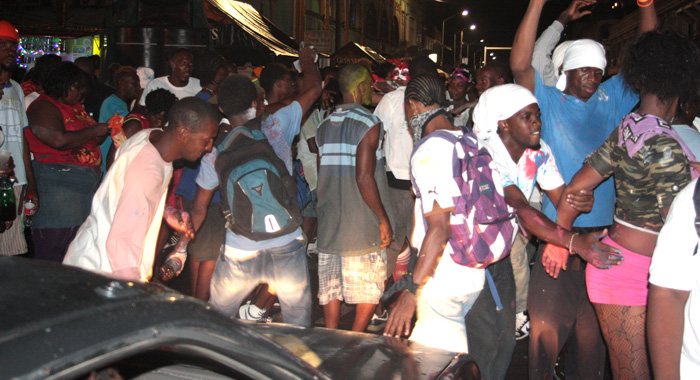 A Car Negotiates Its Way Through Kingstown As The Streets Began To Fill Up With Revellers For J'Ouvert During The Pre-Dawn Hours Of Monday, July 8, 2013. (Iwn Photo)