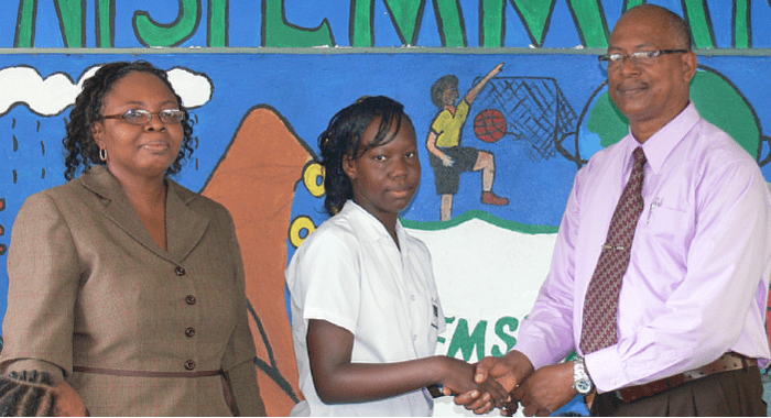 Joel Jack Of Ssbq, Left, Student Keddisha Williams, Centre And A Teacher At The School.