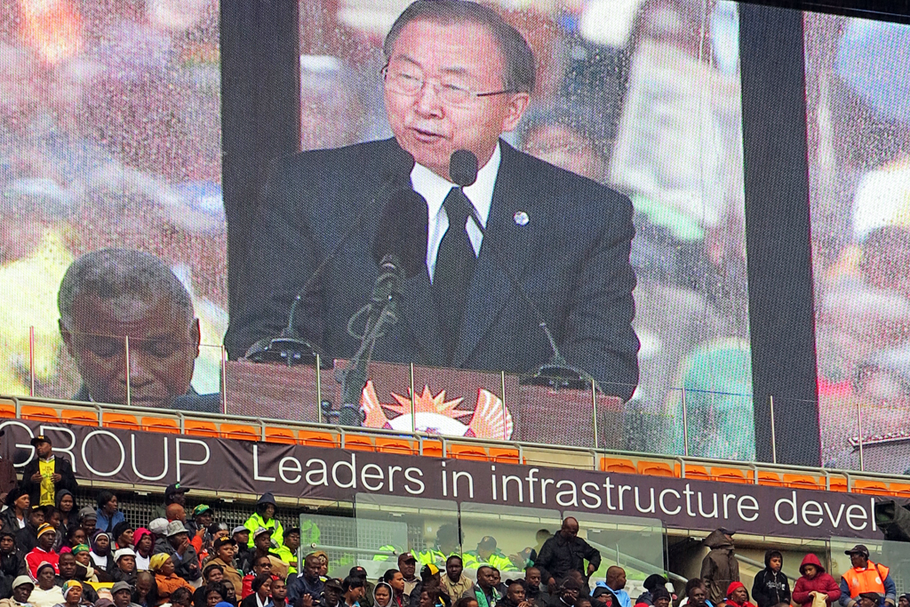 Secretary-General Ban Ki-Moon Pays Tribute To Nelson Mandela At Memorial Service In South Africa. (Un Photo/Josiane Ambiehl)