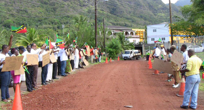 Supporters Of Team Unity Picket On The Road To The Summit Venue On Monday. (Photo: Ndp/Facebook)
