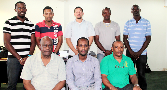 President Of The Svg Cricket Assocaition, Kishore Shallow, Centre, And His Execitive. (Iwn Photo)