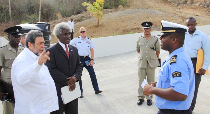 Prime Minister Ralph Gonsalves, Left, And Us Ambassador To Barbados And The Eastern Caribbean Larry Palmer Gets A Guided Tour Of The Sub Base. (Iwn Photo)