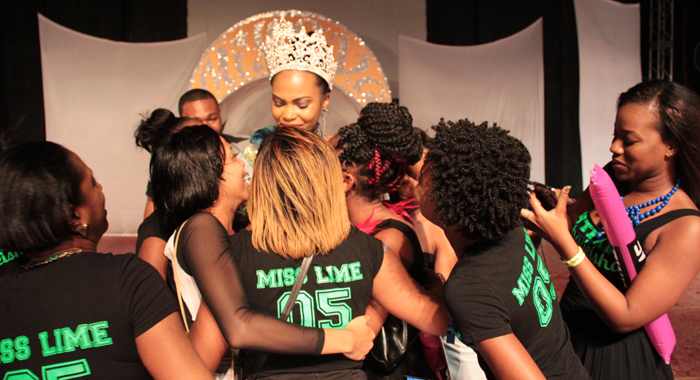 Miss Svg 2014 -- Miss Lime Shadeisha George Is Greeted By Supporters After Her Crowning. (Iwn Photo)