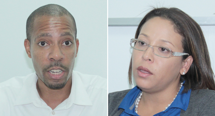 Flow's Country Manager, Christopher Gordon, Left, And Shelly Ann Hee Chung, Vice-President, Sales And Marketing For The Eastern Caribbean. (Iwn Photos)