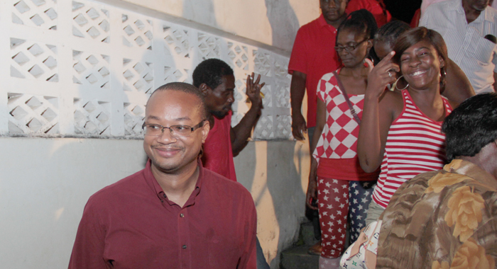 Grenville Williams, Left, Leaves The Vermont Community After The Meeting In Which He Nominated Sen. Jomo Thomas As The Ulp'S Candidate For South Leeward. (Iwn Photo)