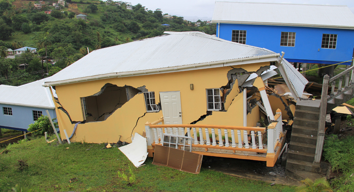 The House, Which Belongs To Physician Dr. Katisha Douglas, Collapsed On Friday. She Had Previously Complained To The Government That The House Was Shaking. (Iwn Photo)