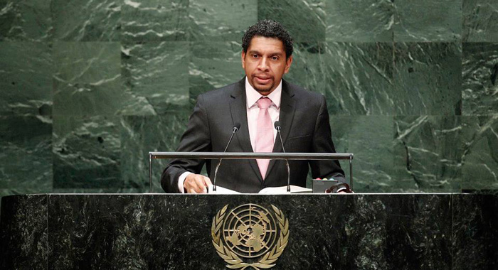 Sen. Camillo Gonsalves As He Addressed The United Nations General Assembly On Monday. (Un Photo)