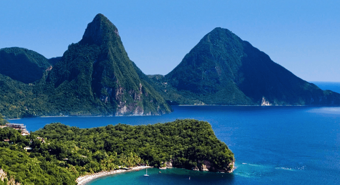 Renowned Twin Pitons, St. Lucia.