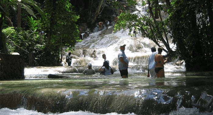 Stunning Dunn'S River Falls, The Climbable Waterfall In Jamaica.