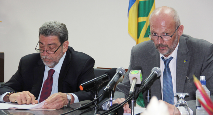Prime Minister Dr. Rlaph Gonsalves, Left, And Mikael Barfod, European Union Ambassador To Barbados And The Eastern Caribbean. (Iwn Photo)