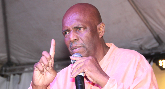 Leader Of The Opposition, Arnhim Eustace Addressing The Ndp Rally In Redemption Sharpes On Saturday. (Iwn Photo)