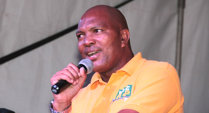 Mp For South Leeward Addressing The Ndp Rally In Campden Park On Saturday. (Iwn Photo)