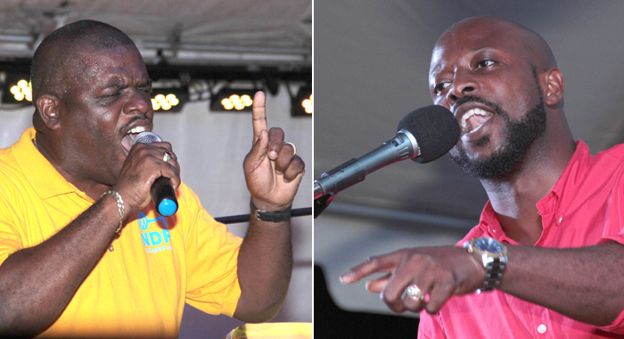 Mp For North Leeward, Roland &Quot;Patel&Quot; Matthews, Left, And His Challenger, Carlos James. (Iwn Photos)