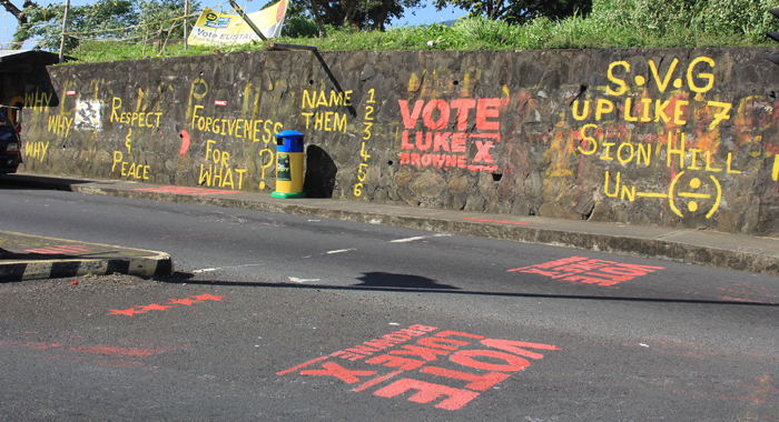 Election Graffiti At Sion Hill Intersection. (Iwn Photo)
