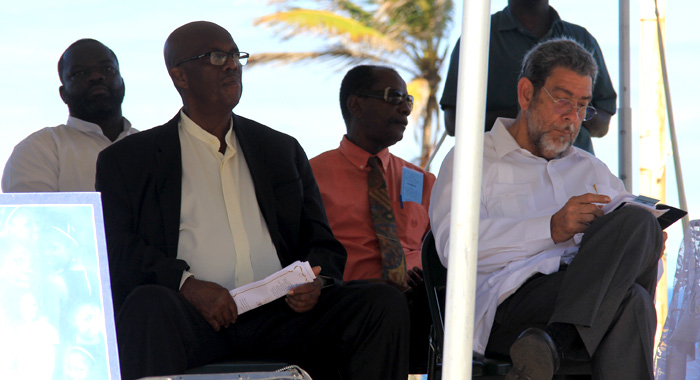 Leader Of The Opposition Arnhim Eustace, Front Left, And Prime Minister Ralph Gonsalves, Front Right, At The Memorial Service On Tuesday. (Iwn Photo)
