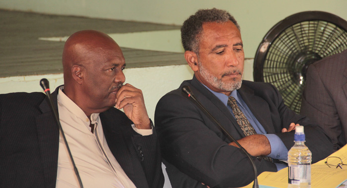 Ndp President, Arnhim Eustace, Left, And Vice-President, Godwin Friday, At The Press Conference. (Iwn Photo)