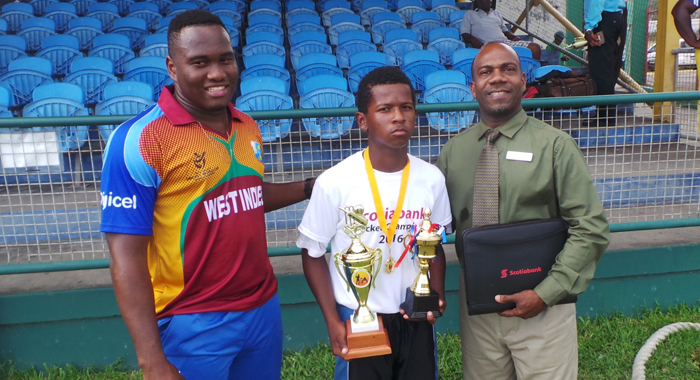 Player Of The Final, Javid Baptiste, With Scotiabank's Norman Cumberbatch And Windies U19 Opener Gidron Pope.