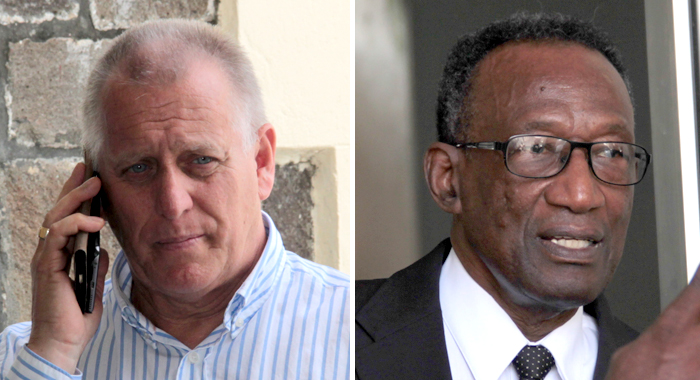 This Montage Photo Shows Businessman Dave Ames, Left, And Lawyer Samuel Commissiong, Outside The High Court Building In Kingstown Last Week. (Iwn Photos)