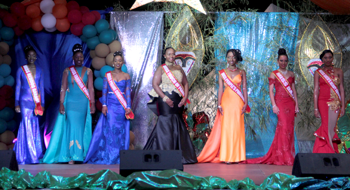 Miss P'Tani 2016 Contestants In Evening Wear. From Left: Wenique Walker -- Miss Reddog Garage, Keishell Robertson -- Miss Fanfare Events, Stacy Payne -- Miss Prime Consulting, Zakiyah Mofford -- Miss Touch Of Pearl, Lourie John -- Miss People'S Pharmacy, Regisha Hazell -- Miss Dazzle, Antoria Cumberbatch -- Miss Cato'S Heavy Equipment. (Iwn Photo)