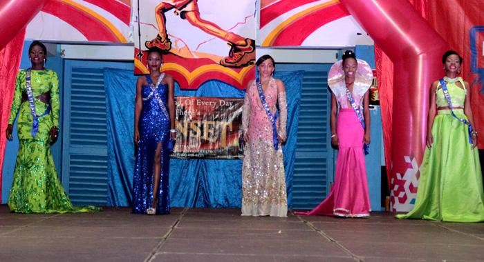 Contestants In Eveningwear. Contestants In Swimwear. From Left: Lorice Nero -- Miss Pepper Village, Kimesia Bowens -- Miss Langley Park, Cristal Pope -- Miss Caratal, Zoneh Seymour -- Miss Biabou, Monifar Cordice -- Miss Kayow. (Iwn Photo)